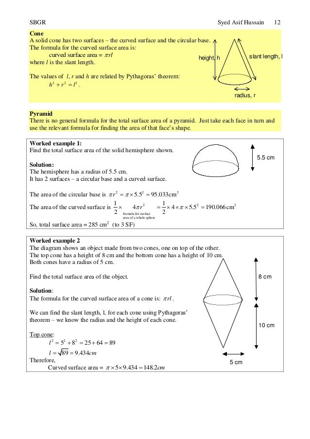 Topic 24 further volume and surface area 12 ccuart Gallery