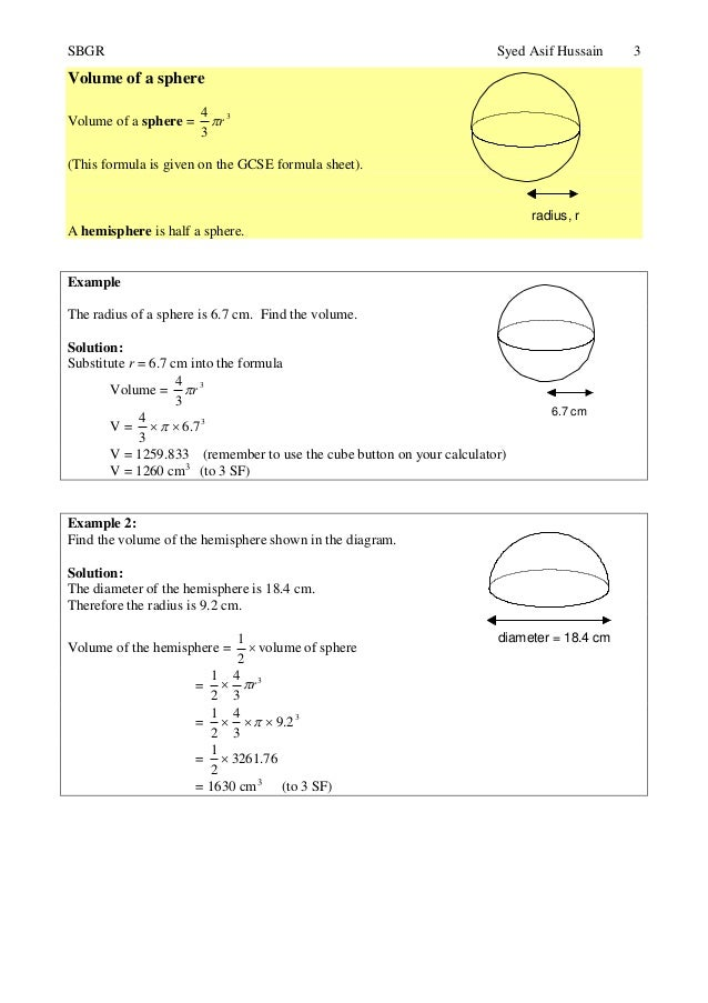 Topic 24 Further Volume And Surface Area