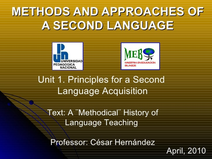 METHODS AND APPROACHES OF A SECOND LANGUAGE Unit 1.   Principles for a Second  Language Acquisition Text: A ¨Methodical¨ H...