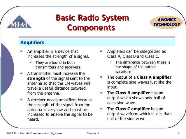 Basic Radio System Components  AVIONICS TECHNOLOGY  Amplifiers An amplifier is a device that increases the strength of a s...