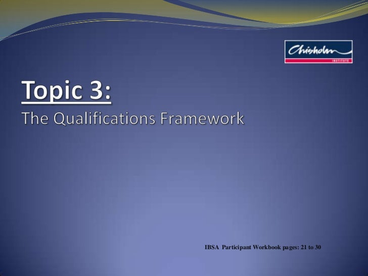 Topic 3: The Qualifications Framework<br />IBSA  Participant Workbook pages: 21 to 30<br />