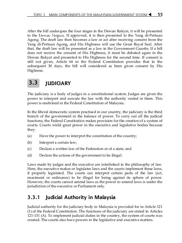 Topic 3 Main Components Of The Malaysian Government System