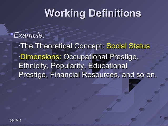 03/17/1503/17/15 Working DefinitionsWorking Definitions Example:Example: • The Theoretical Concept:The Theoretical Concep...