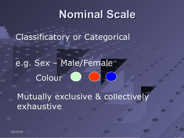 03/17/1503/17/15 Nominal ScaleNominal Scale Classificatory or Categorical e.g. Sex – Male/Female Colour Mutually exclusive...