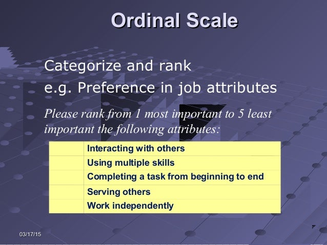 03/17/1503/17/15 Ordinal ScaleOrdinal Scale Categorize and rank e.g. Preference in job attributes Please rank from 1 most ...