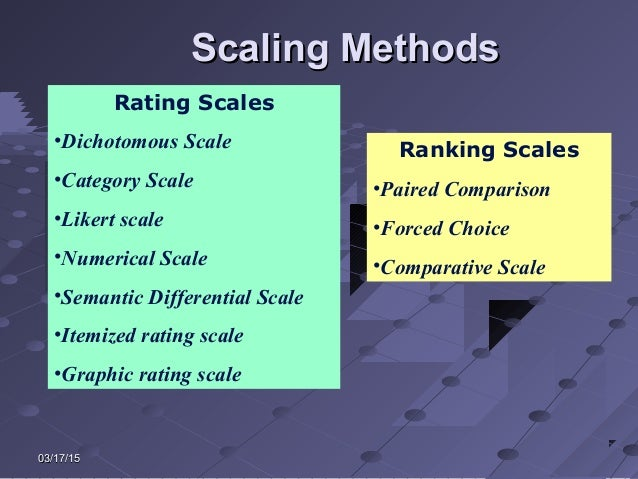 03/17/1503/17/15 Scaling MethodsScaling Methods Rating Scales •Dichotomous Scale •Category Scale •Likert scale •Numerical ...