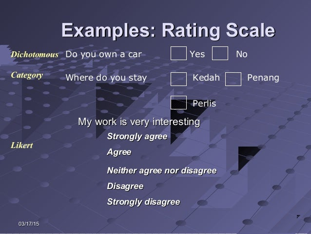 03/17/1503/17/15 Examples: Rating ScaleExamples: Rating Scale Likert Do you own a car Yes NoDichotomous Where do you stay ...
