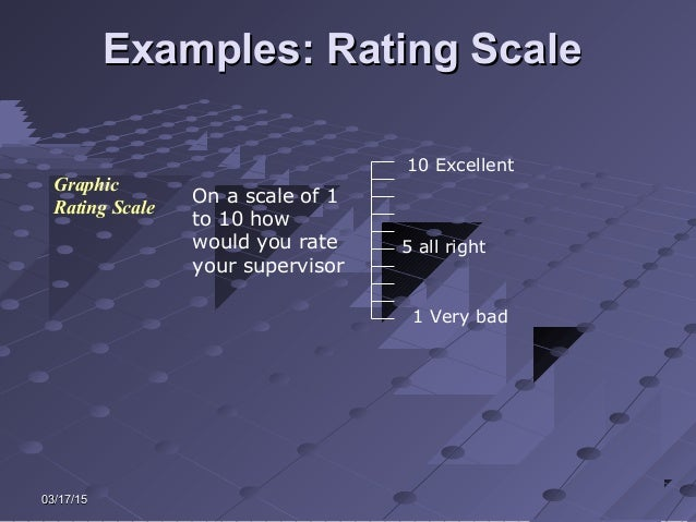 03/17/1503/17/15 Examples: Rating ScaleExamples: Rating Scale Graphic Rating Scale On a scale of 1 to 10 how would you rat...