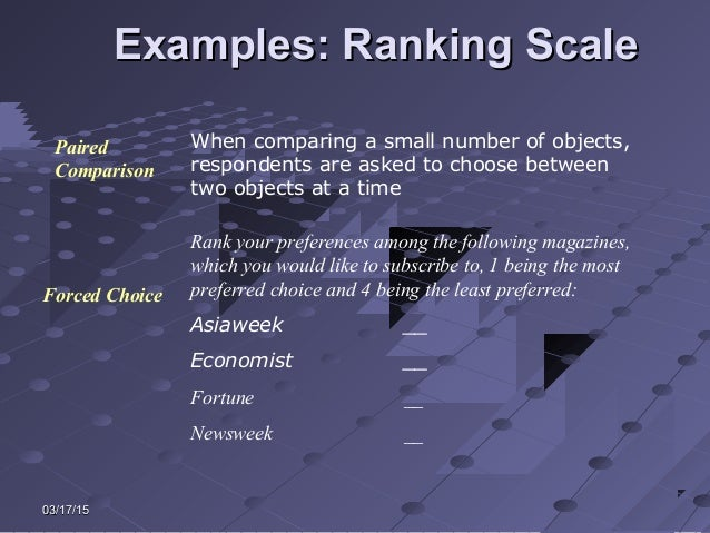 03/17/1503/17/15 Examples: Ranking ScaleExamples: Ranking Scale When comparing a small number of objects, respondents are ...