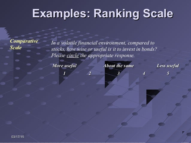 03/17/1503/17/15 Examples: Ranking ScaleExamples: Ranking Scale Comparative Scale In a volatile financial environment, com...