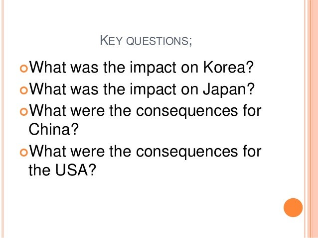 consequences of the korean war In contrast, the north korean economy recovered quickly after the war and until around 1975 surpassed that of south korea[citation needed] however, north korea's economy eventually slowed today, the north korean economy is virtually nonexistent while the south korean economy is expanding.