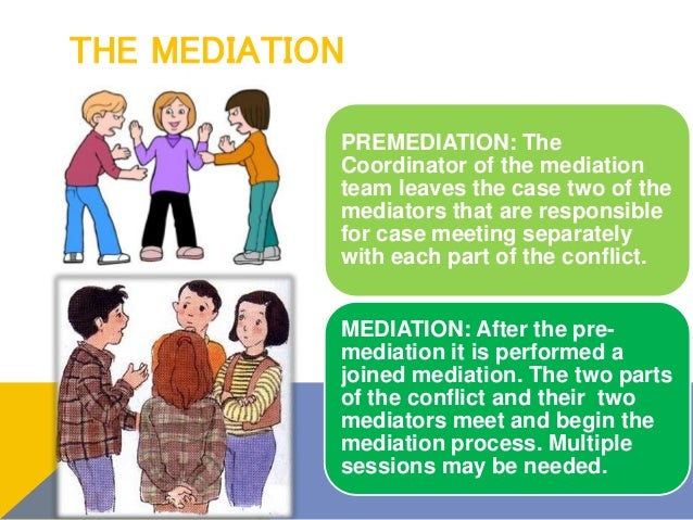 THE MEDIATION PREMEDIATION: The Coordinator of the mediation team leaves the case two of the mediators that are responsibl...