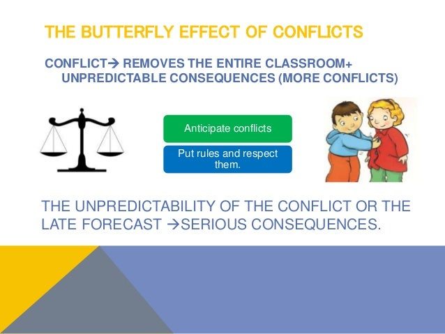 THE BUTTERFLY EFFECT OF CONFLICTS CONFLICT REMOVES THE ENTIRE CLASSROOM+ UNPREDICTABLE CONSEQUENCES (MORE CONFLICTS) Anti...