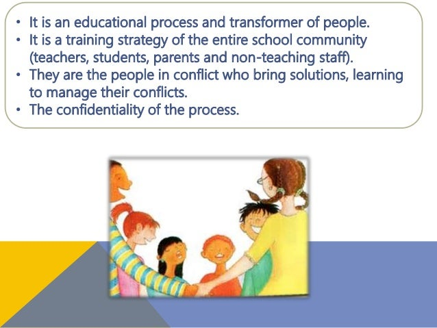 • It is an educational process and transformer of people. • It is a training strategy of the entire school community (teac...