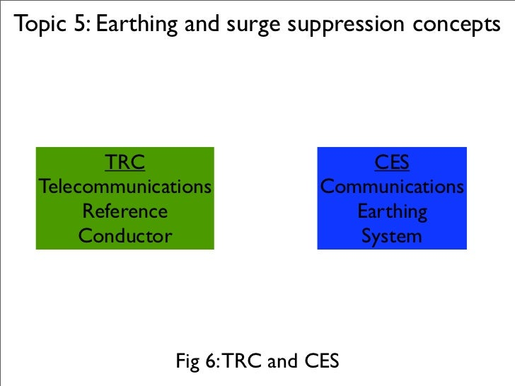 Topic 5: Earthing and surge suppression concepts              TRC                        CES   Telecommunications         ...