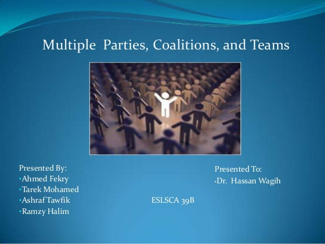 Multiple Parties, Coalitions, and TeamsPresented By:                      Presented To:•Ahmed Fekry                       ...