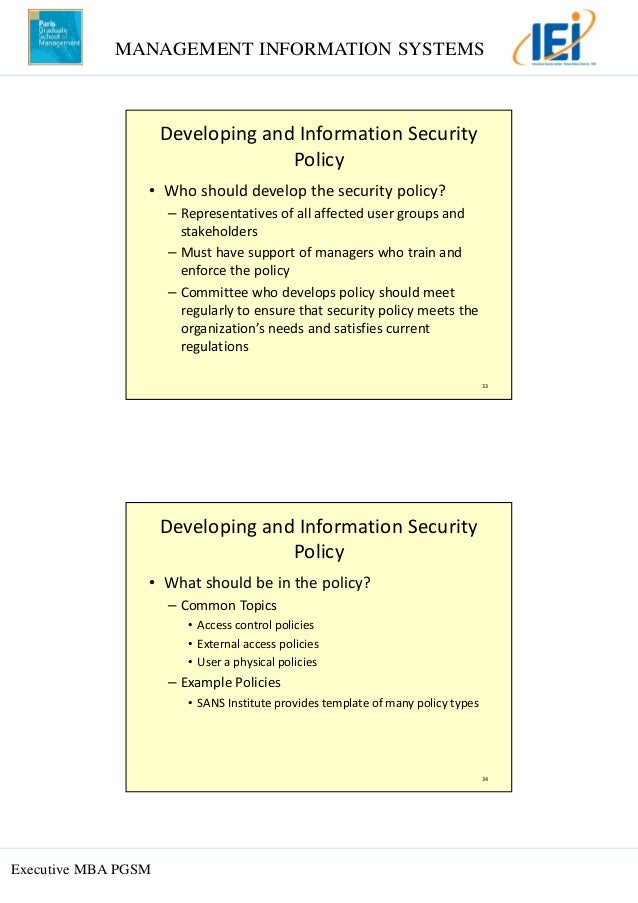 Topic 6 it security for Sans security policy templates