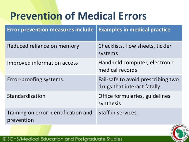 medical errors The subject of medical errors is not a new one however, it did not come to widespread attention in the united states until the 1990s, when government-sponsored research about the problem was undertaken by two physicians, lucian leape and david bates in 1999, a report compiled by the committee on.