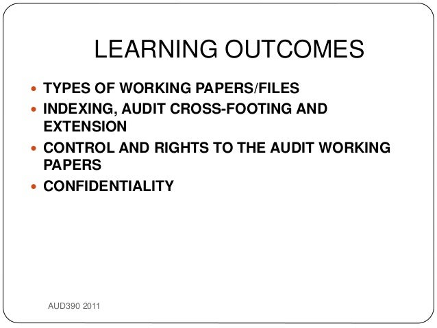 types of audit working papers