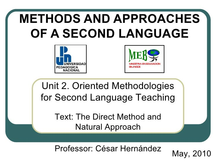 METHODS AND APPROACHES OF A SECOND LANGUAGE Unit 2.   Oriented Methodologies for Second Language Teaching Text: The Direct...
