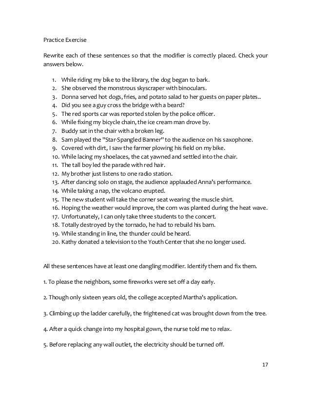 Topic 7 and8modifierplacement – Misplaced and Dangling Modifiers Worksheet