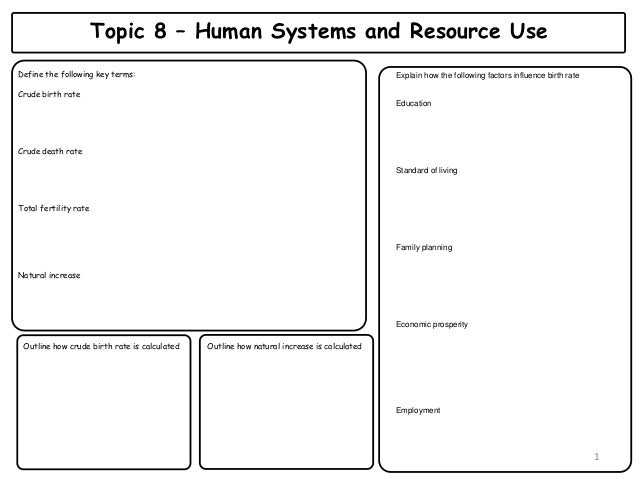 Topic 8 – Human Systems and Resource Use Define the following key terms: Crude birth rate Crude death rate Total fertility...