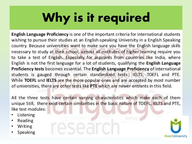 essay about english language proficiency English language proficiency of their foreign student applicants  the test of written english  is the essay component of the test of english as a foreign .