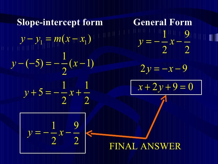 intercept form to general form  Topic 11 (Writing Equations Of A Straight Lines)