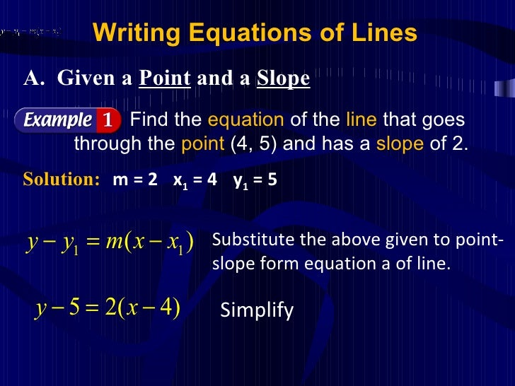 Topic 8 Writing Equations Of A Straight Lines