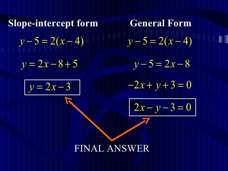 Slope Intercept Form To General Form Dolapgnetband
