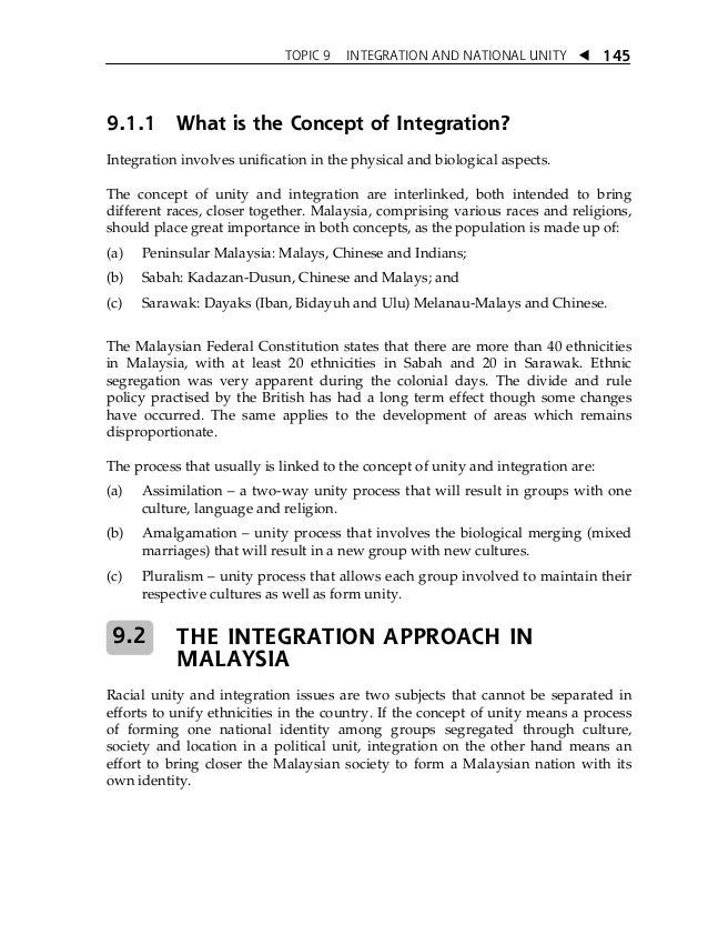 Topic 9 integration and national unity