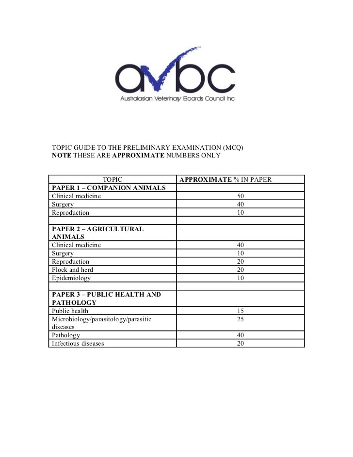 TOPIC GUIDE TO THE PRELIMINARY EXAMINATION (MCQ)NOTE THESE ARE APPROXIMATE NUMBERS ONLY                  TOPIC            ...