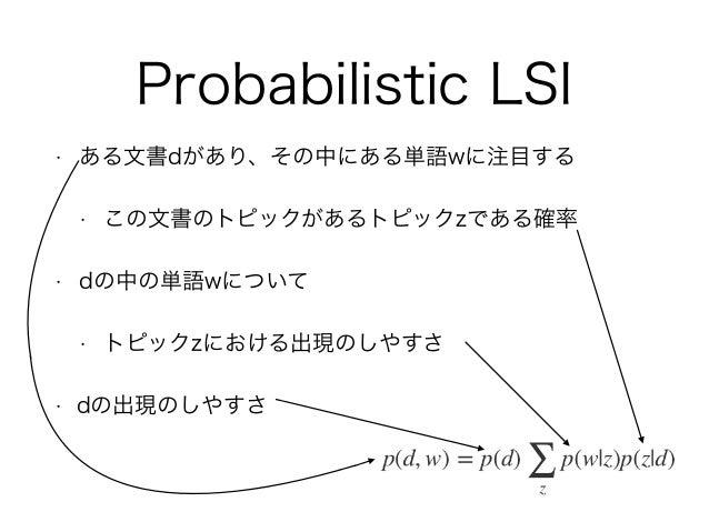 Probabilistic LSI • ある文書dがあり、その中にある単語wに注目する • この文書のトピックがあるトピックzである確率 • dの中の単語wについて • トピックzにおける出現のしやすさ • dの出現のしやすさ
