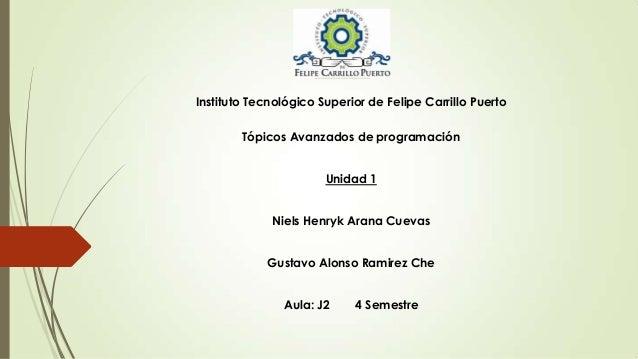 Instituto Tecnológico Superior de Felipe Carrillo Puerto Tópicos Avanzados de programación Unidad 1 Niels Henryk Arana Cue...