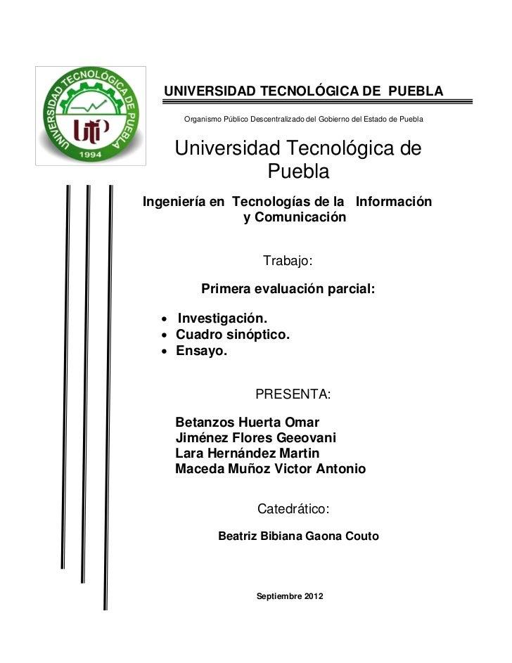 UNIVERSIDAD TECNOLÓGICA DE PUEBLA      Organismo Público Descentralizado del Gobierno del Estado de Puebla    Universidad ...