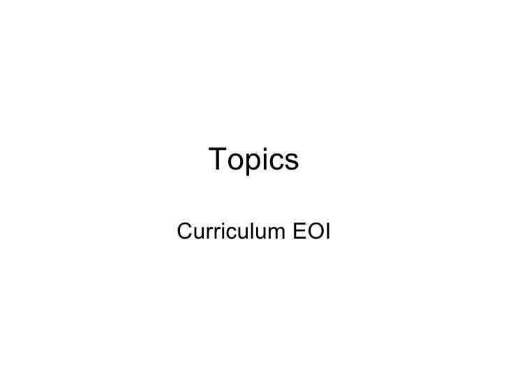 Topics Curriculum EOI