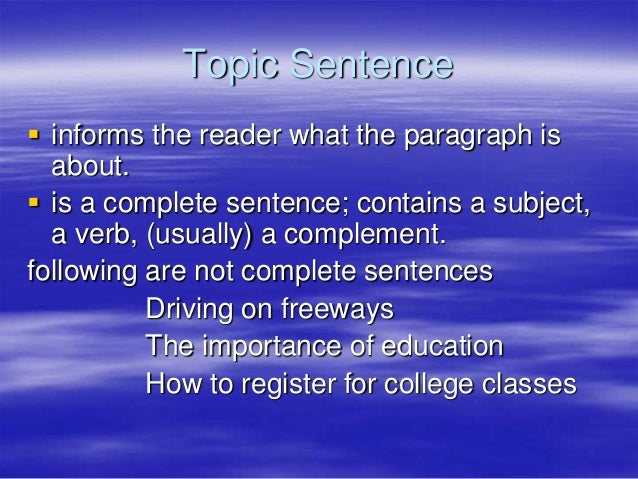 No Is A Complete Sentence Quote: Topic Sentence