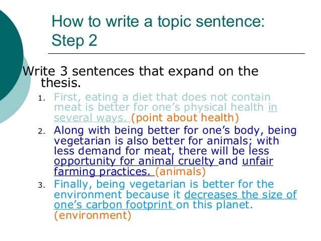 how to write a topic sentence examples