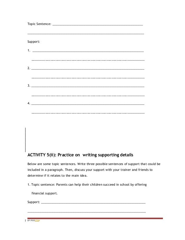 Topic Sentence And Supporting Details Worksheet - Davezan