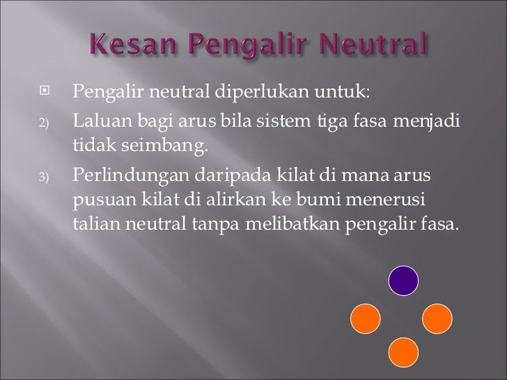 <ul><li>Pengalir neutral diperlukan untuk: </li></ul><ul><li>Laluan bagi arus bila sistem tiga fasa menjadi tidak seimbang...