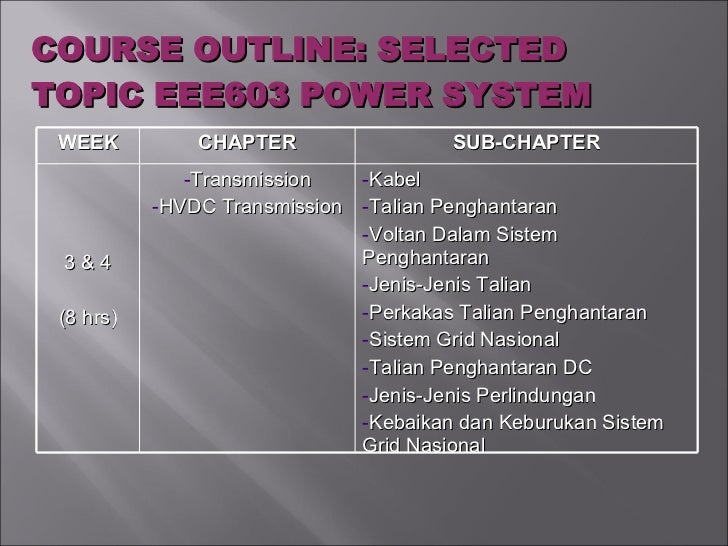 COURSE OUTLINE: SELECTED TOPIC EEE603 POWER SYSTEM WEEK CHAPTER SUB-CHAPTER 3 & 4 (8 hrs) <ul><li>Transmission </li></ul><...