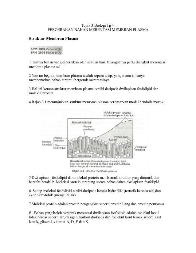 Topik 3 Biologi Tg 4            PERGERAKAN BAHAN MERENTASI MEMBRAN PLASMAStruktur Membran Plasma1 Semua bahan yang diperlu...