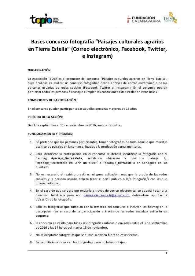 """1 Bases concurso fotografía """"Paisajes culturales agrarios en Tierra Estella"""" (Correo electrónico, Facebook, Twitter, e Ins..."""
