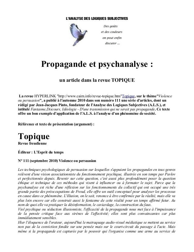 L'ANALYSE DES LOGIQUES SUBJECTIVES               Propagande et psychanalyse :                           un article dans la...