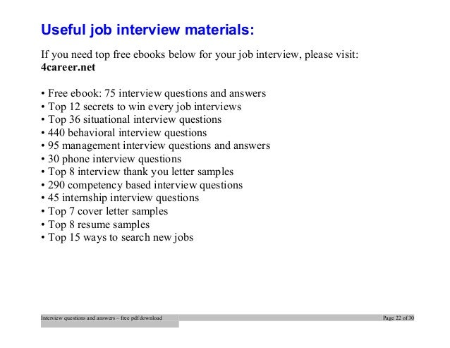 ... Interview Questions And Answers U2013 Free Pdf Download Page 21 Of 30; 22.  Useful Job ...