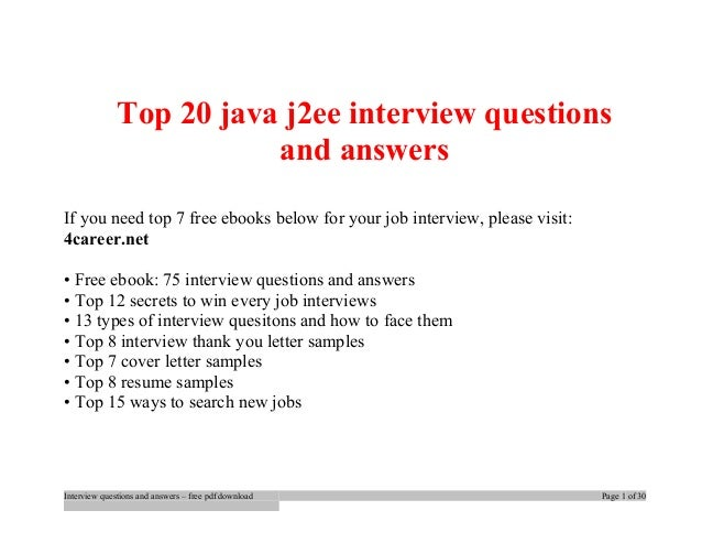 Java Interview Questions For Experienced Pdf