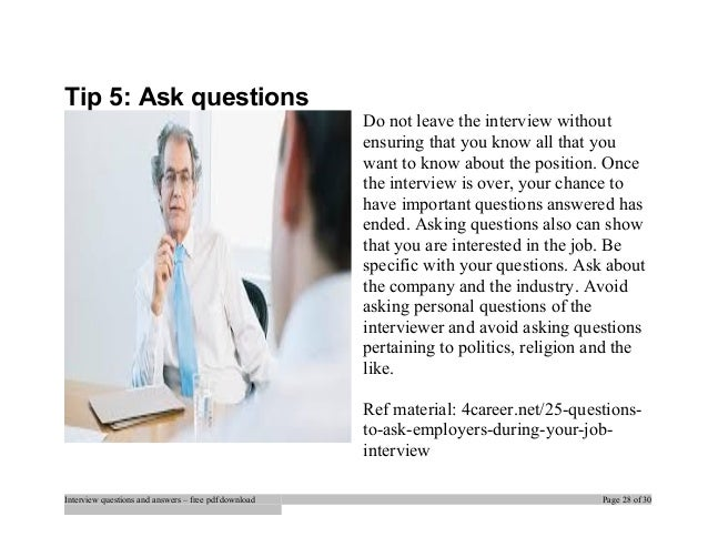 job interview tips questions and answers pdf