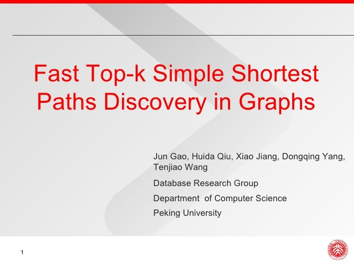 Fast Top-k Simple Shortest Paths Discovery in Graphs Database Research Group Department  of Computer Science Peking Univer...