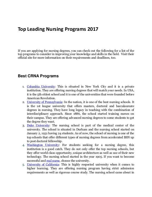 Best Nursing Degrees Programs in 2017