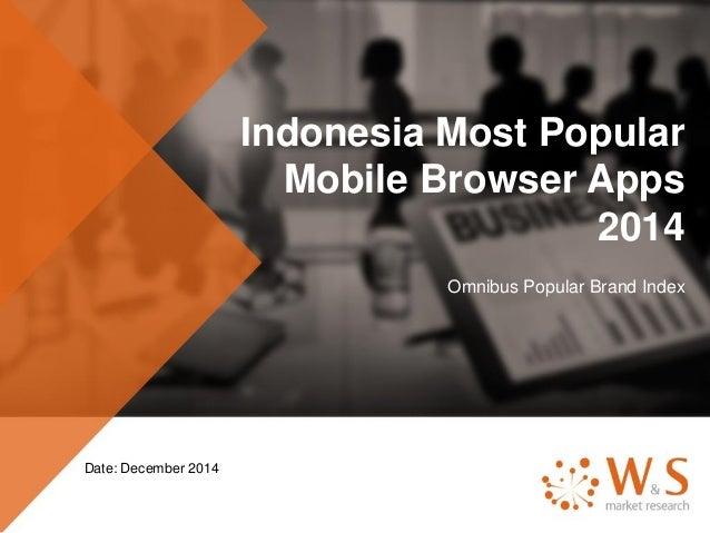 Indonesia Most Popular Mobile Browser Apps 2014 Omnibus Popular Brand Index Date: December 2014